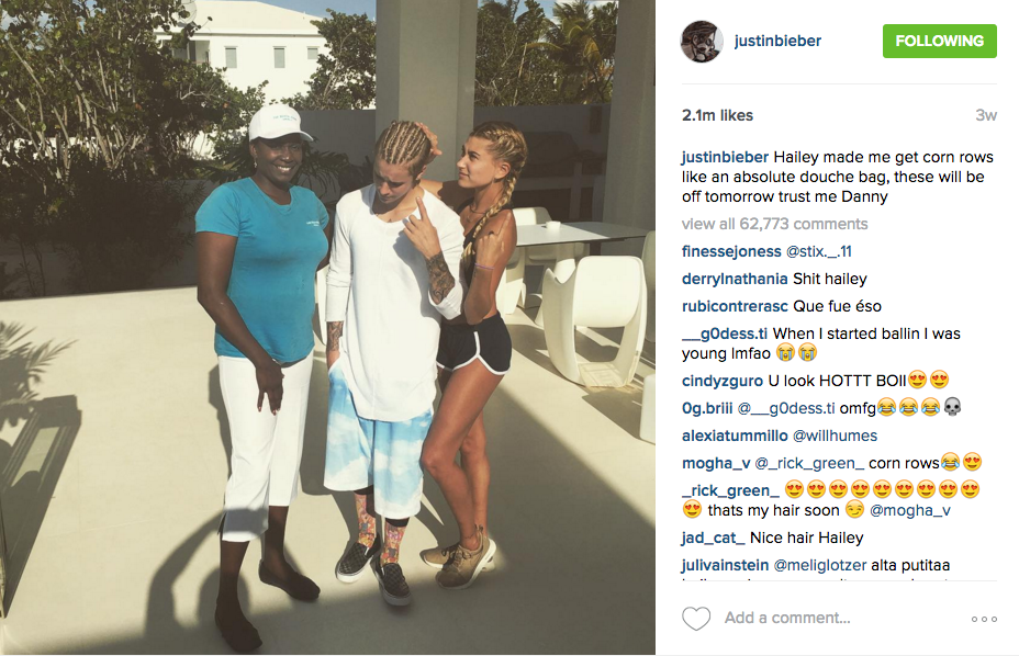 screenshot from @justinbieber instagram where he is wearing a Onemeth thermal long sleeve and sporting corn rows